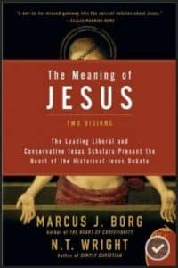 Book cover of The Meaning of Jesus : Two Visions showing Jesus with pierced hands