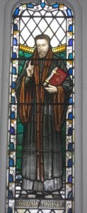 Stained glass window of William Tyndale