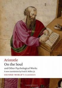 Book Cover of Aristotle On the Soul showing Aristotle Writing